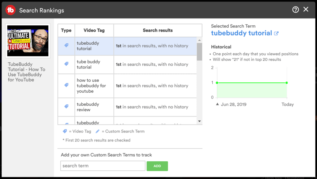 Search Ranking window on TubeBuddy.