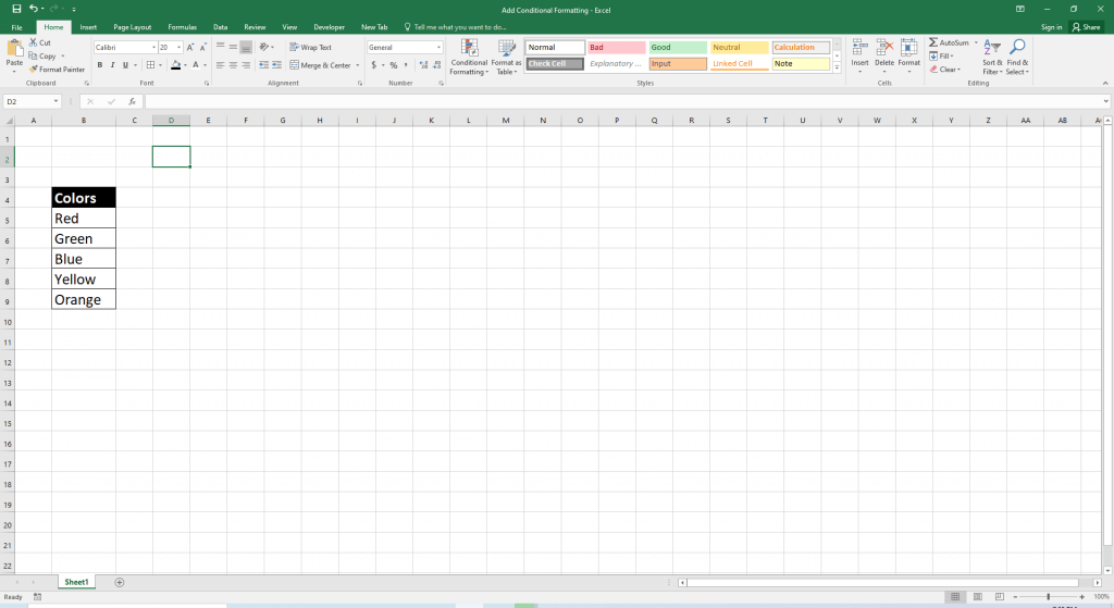 Excel - Background Colors of Cells