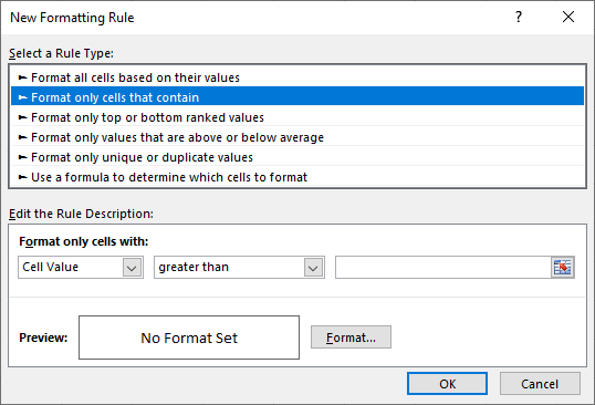 Conditional formatting with custom formulas cells Excel