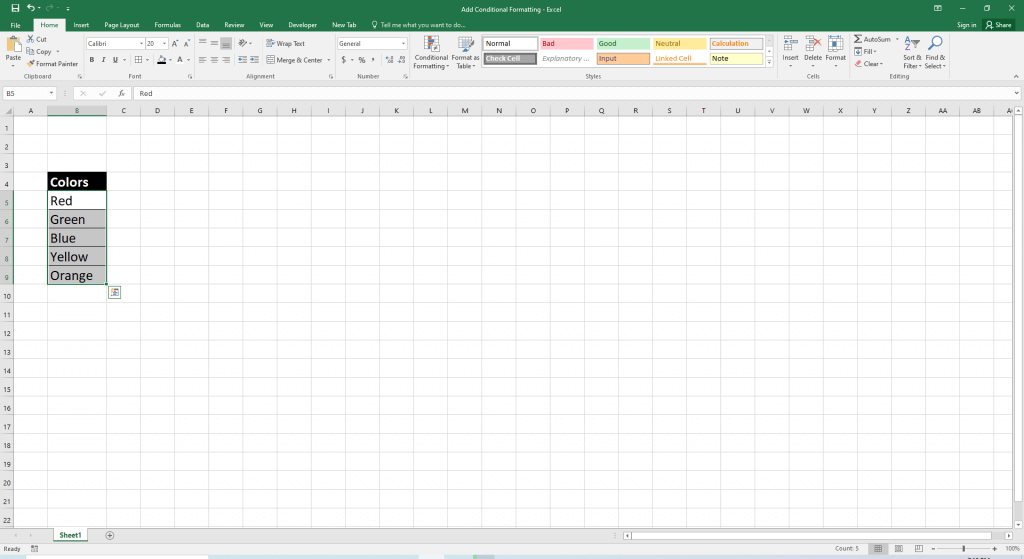 conditional formatting of Excel