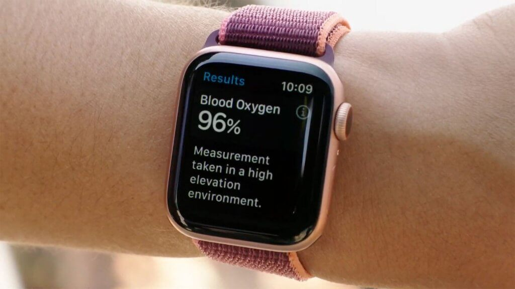 Apple watch Series 6 blood oxygen level monitor.