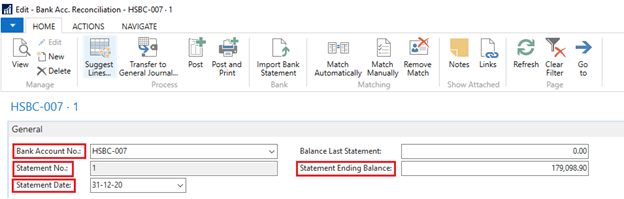 Create Bank Reconciliation in Dynamics NAV