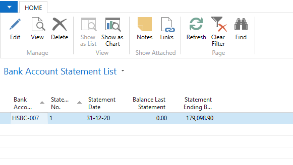 Reconciled Bank Statement in Microsoft Dynamics Navision
