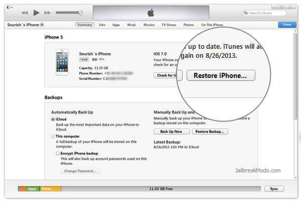 Restoring the device through iTunes.