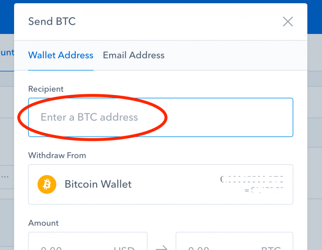 Send Bitcoin from Coinbase