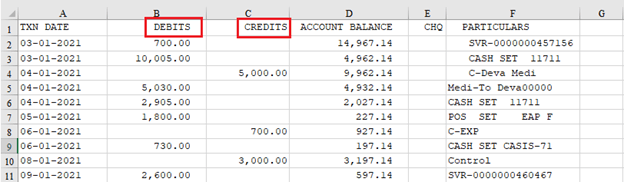 Bank Statement Converted to Excel