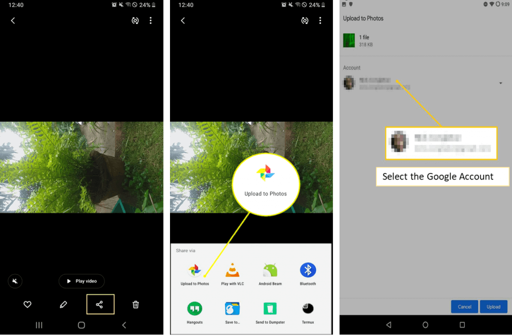 Upload images to Google photos