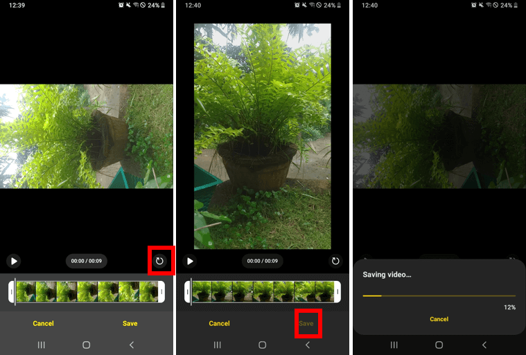Rotate video on android using gallery app