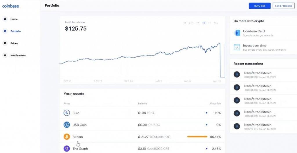select the bitcoin wallet