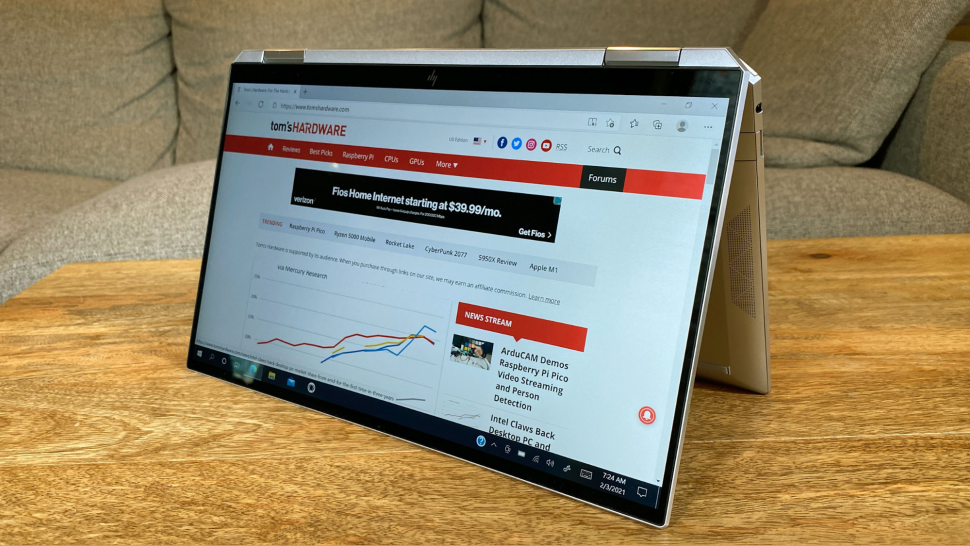 Tablet mode of HP Spectre x360 2021
