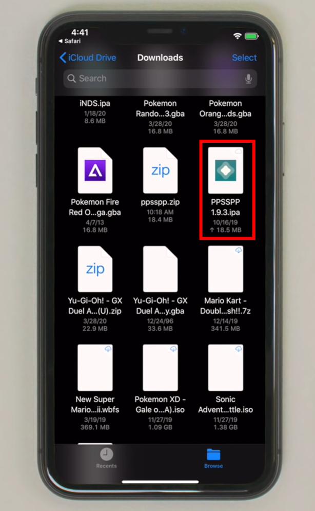 IPA file in downloads of AltStore