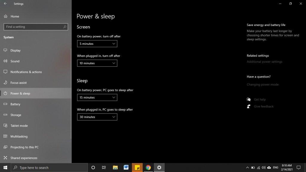 Select Power & Sleep to turn off auto sleep Windows 10