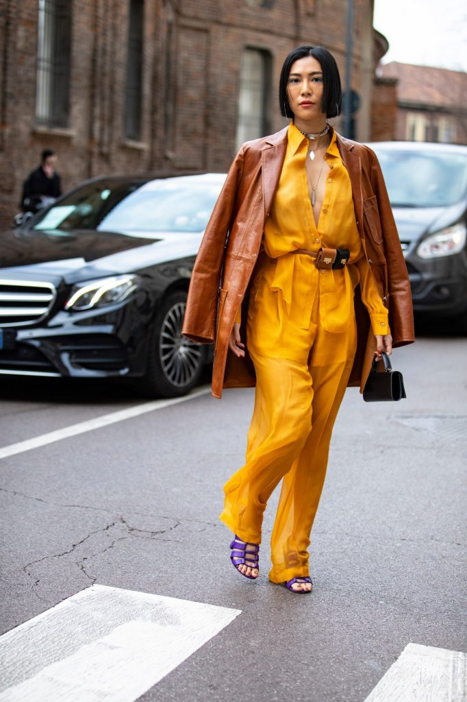 Yellow and camel color dresses
