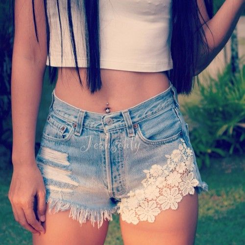 Lace On Denim Hipster Girl's Fashion