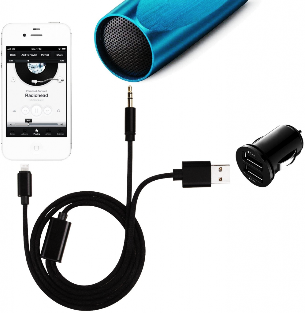 2 in 1 iPhone aux cord with charging port.