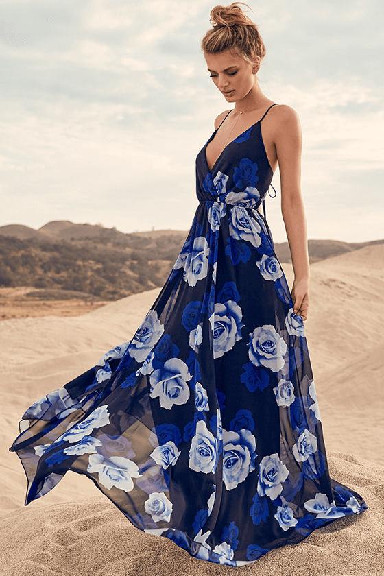 Blue Floral Print Beach Dress