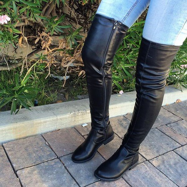 Over The Knee Dress Boots - Black Flat