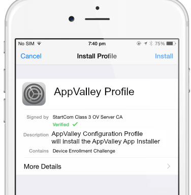 Install AppValley Profile