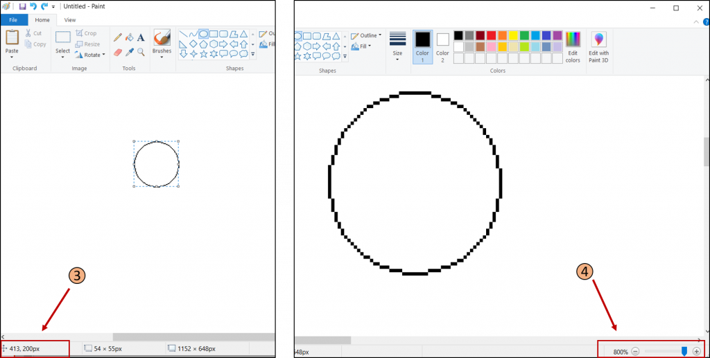 Use Paint to create circles in Minecraft at various dimensions