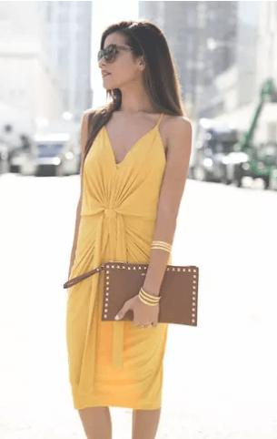 Elegant mustard dress
