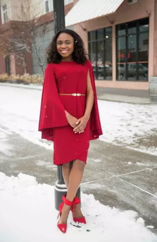 Bold and confident in red sheath dress