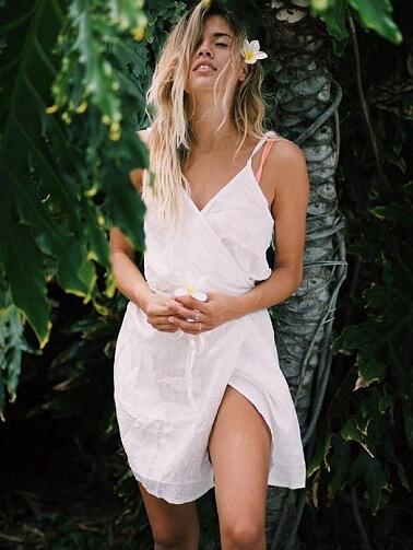 Beach Wrap Dress in White Linen