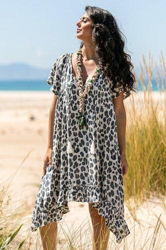 Leopard Print Kaftan Beach Dress