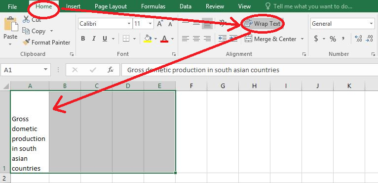 Wrapping long text using Wrap Text button