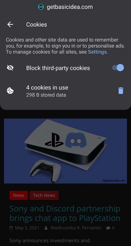 Clear cookies on Android from a single site