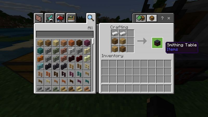 Crafting recipe of Smithing Table Minecraft