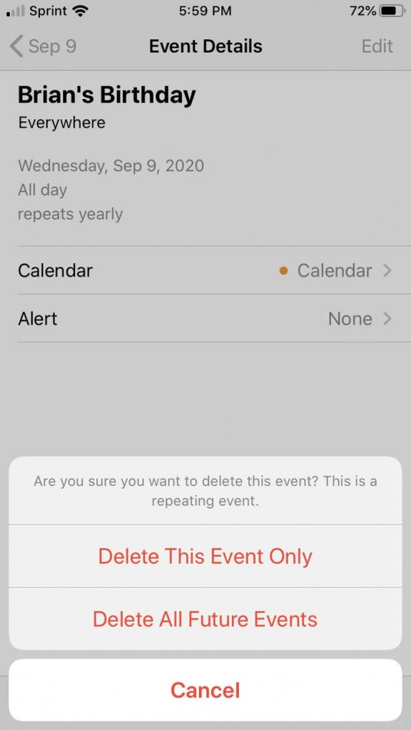 Delete calendar events on iPhone easily