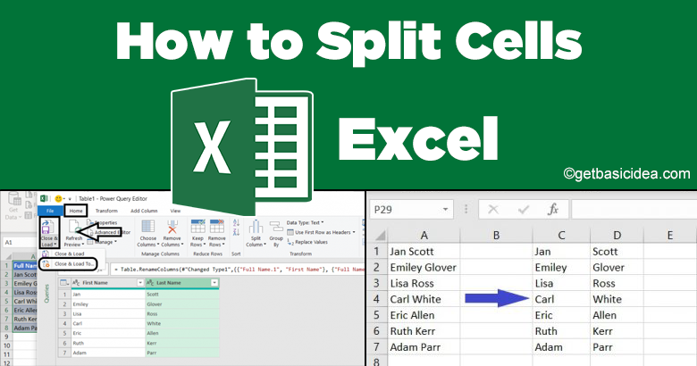 How to Split Cells in Excel