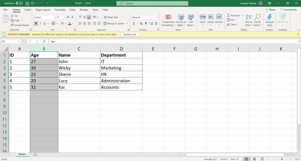 Move columns in Excel