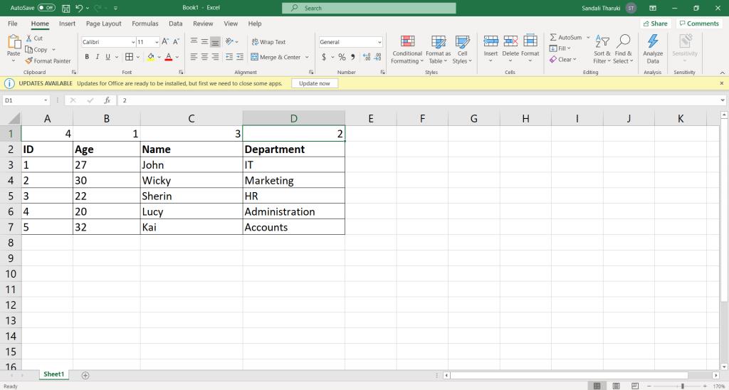 How to move columns in Excel - Sort method