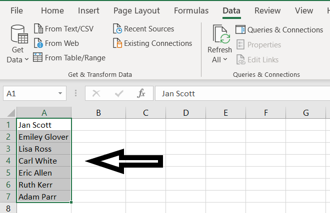 This image shows the Step 1 of the Method 1 of Split Cell in Excel