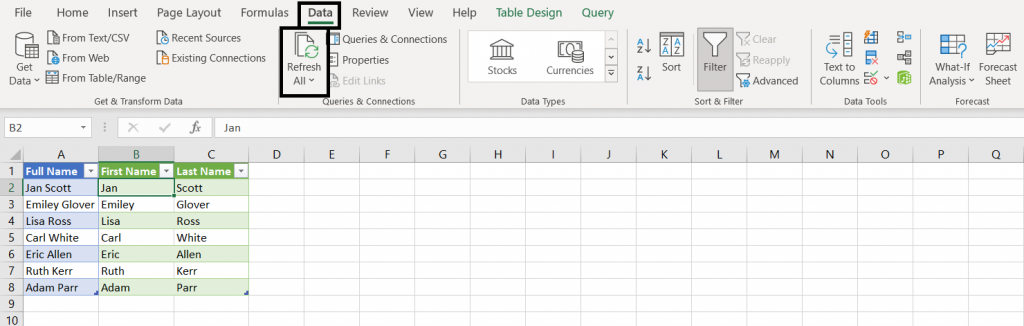 This image indicates the step 7 of method 4 in split the cells in excel