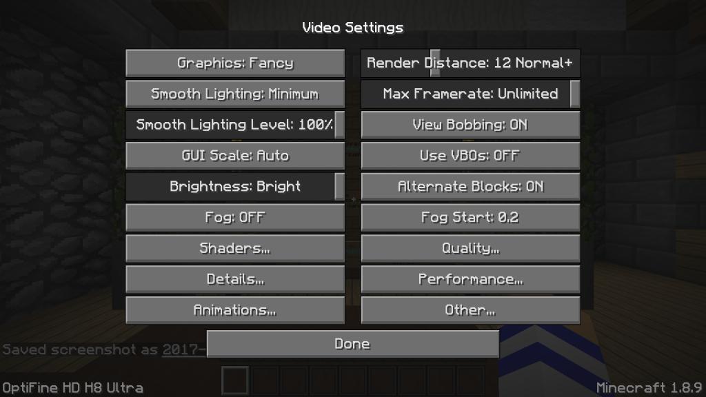 Video settings - Minecraft OptiFine