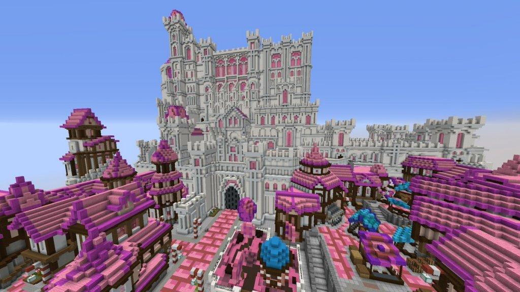 A pink Minecraft castle