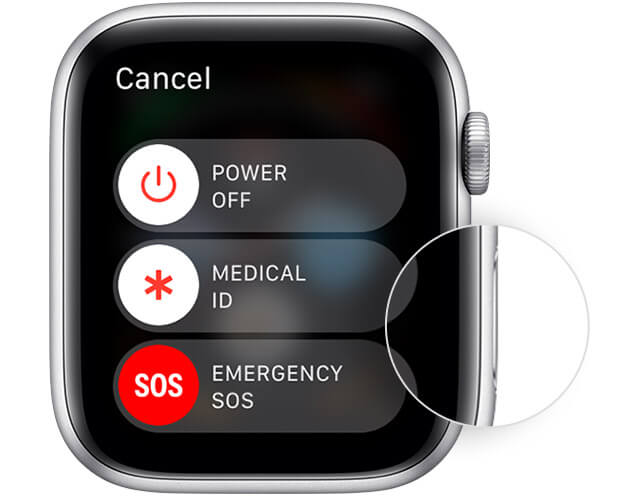 Press and hold the Side Button to restart Apple Watch.