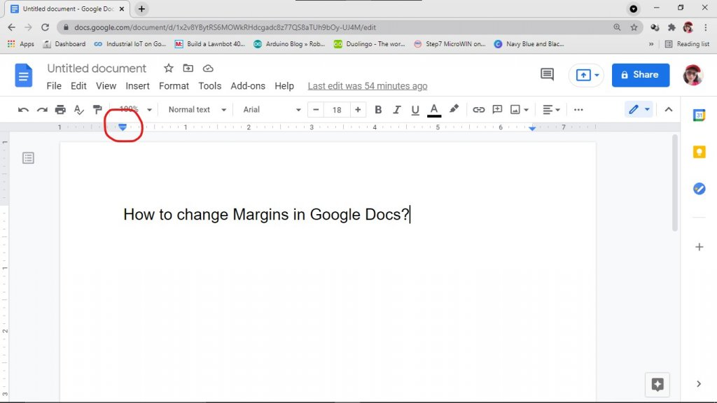 To change margins in Google Docs use the pointer in the ruler.