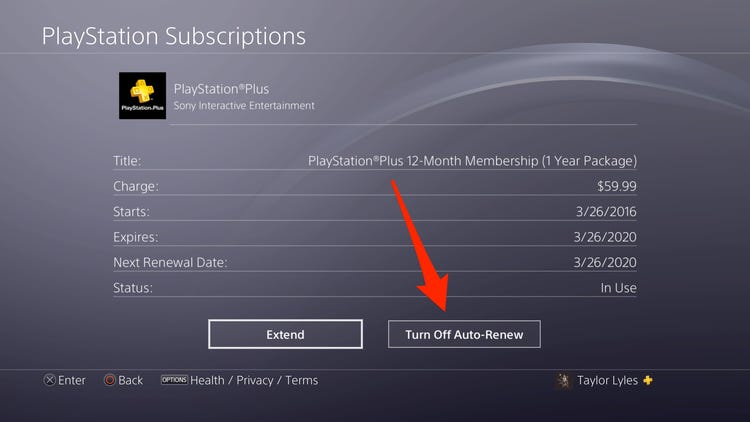 Select Turn Off Auto Renew to cancel PS Plus subscription.