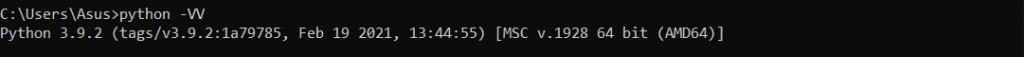 check python version in Windows method 3