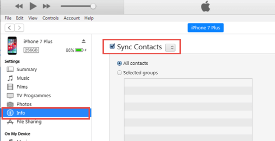 Sync contacts via iTunes or Finder
