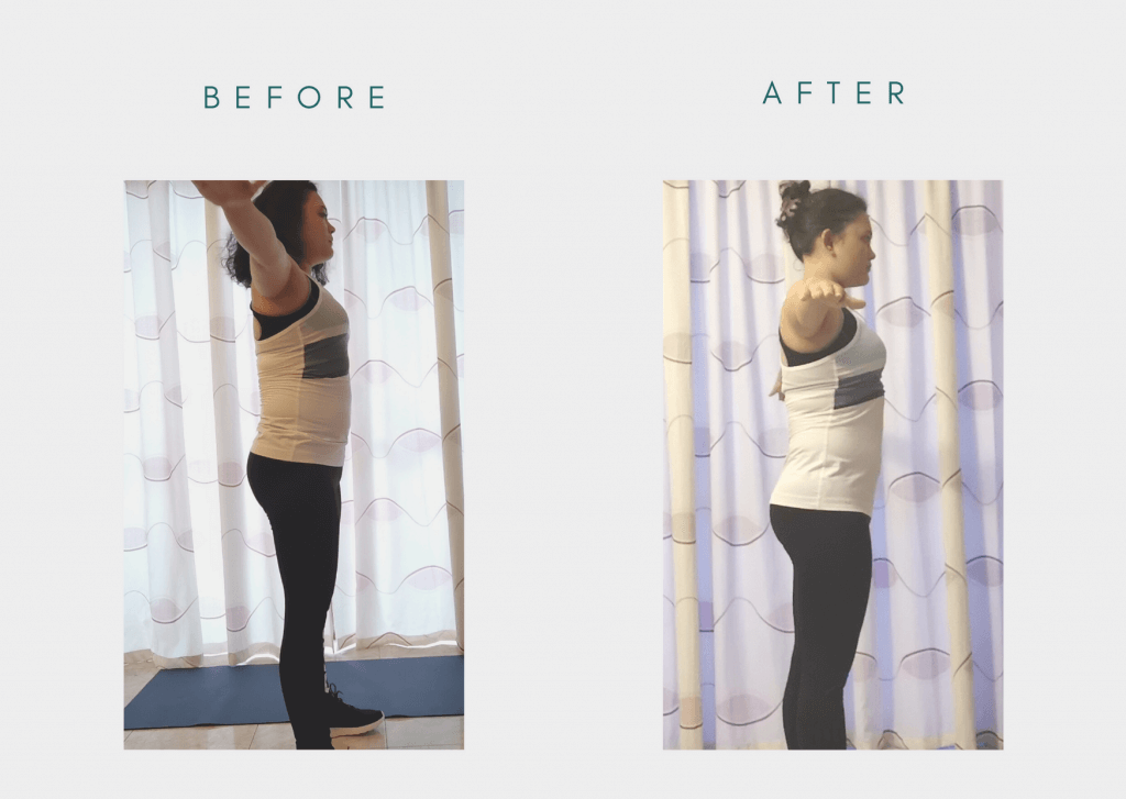 Picture taken before and after - Chloe Ting's 2021 Summer Shred Challenge