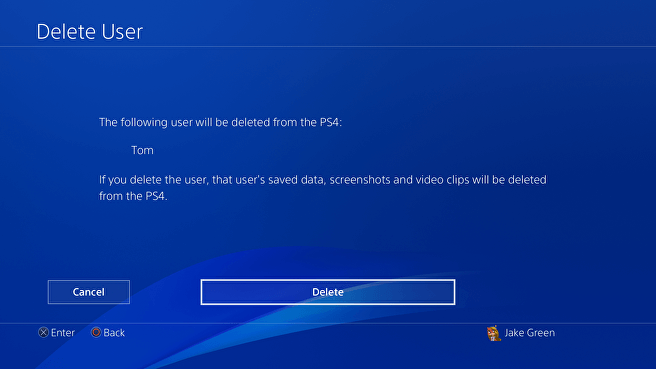 Press Delete to confirm your request related to delete PlayStation user profile.