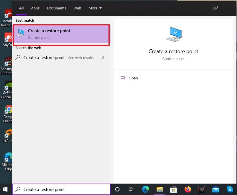 Create a restore point on Windows