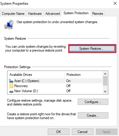 Create a restore point - System Restore