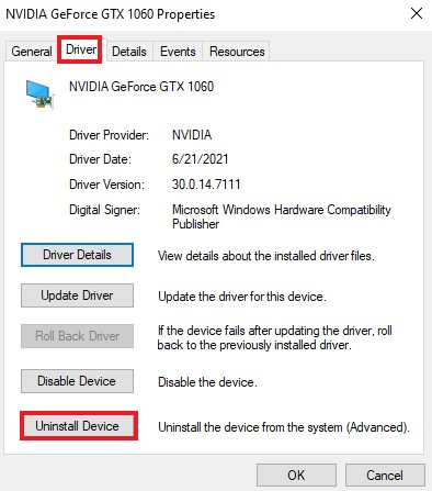 Go Device Manager >> Driver >> Uninstall Device to uninstall Nvidia drivers