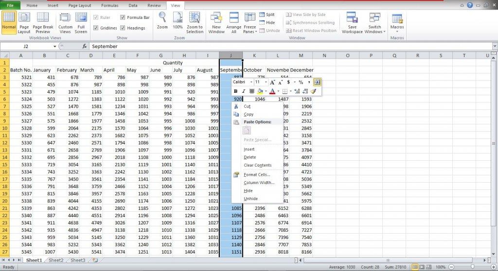 Hide column in Excel