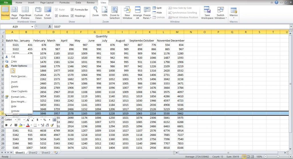 Hide rows in Excel